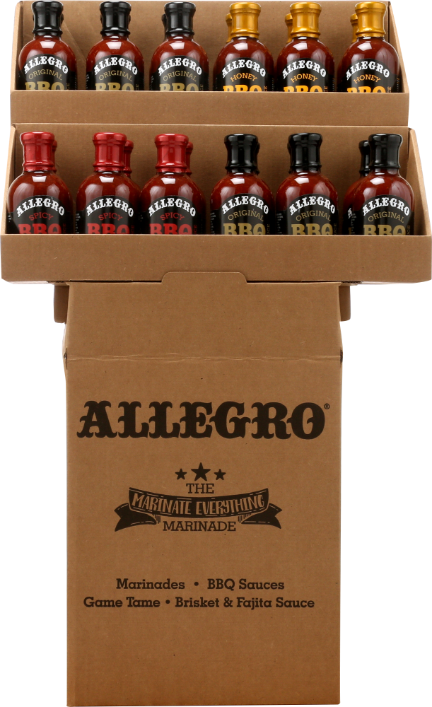 Front view of Allegro Mixed BBQ Sauce Shipper