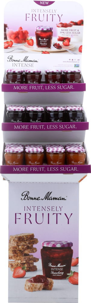 This shipper contains 12 each of Strawberry, Blueberry and Apricot fruit spread jars.