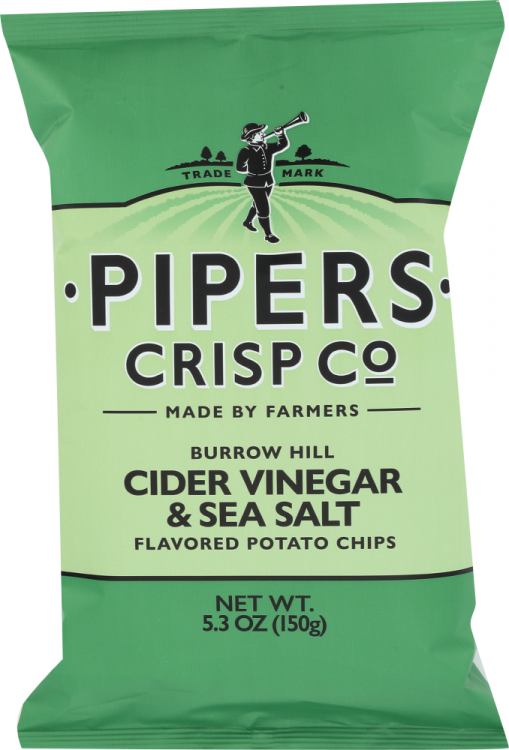 Front view of BURROW HILL CIDER VINEGAR & SEA SALT POTATO CHIPS