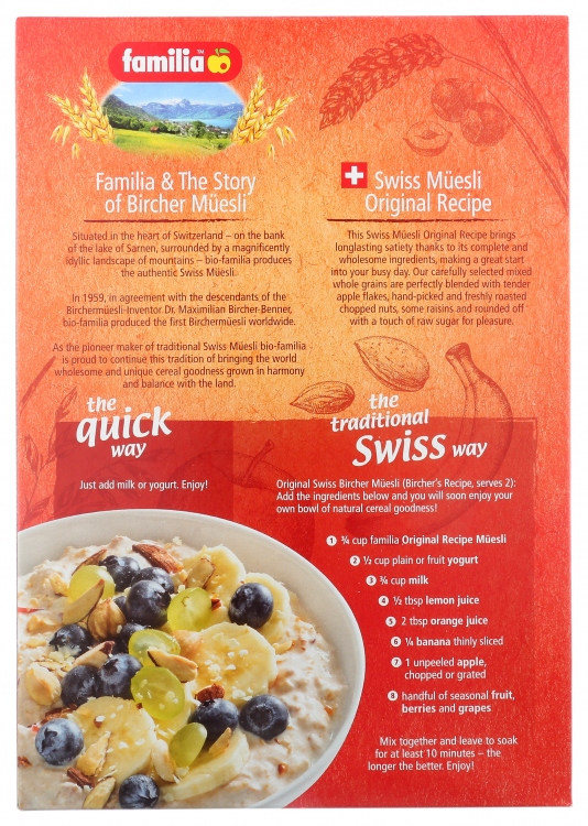 Original Swiss Muesli 32oz - Back