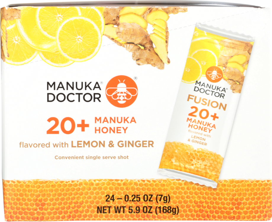 Front view of 20+ Manuka Honey with Lemon & Ginger Fusion Sachets