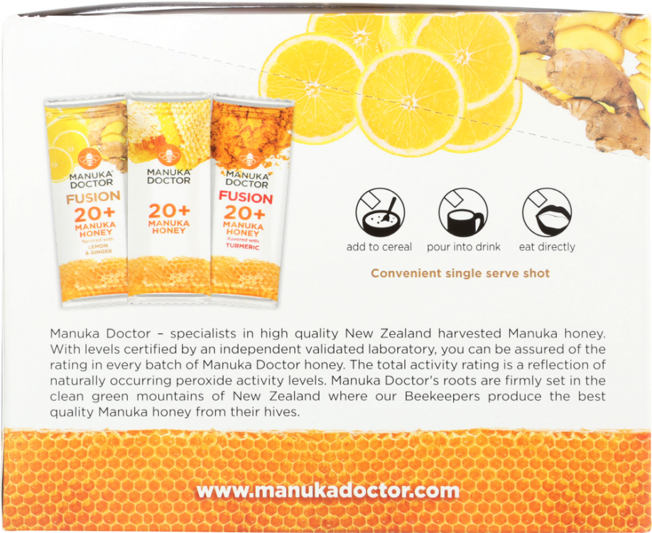 Back view of 20+ Manuka Honey with Lemon & Ginger Fusion Sachets