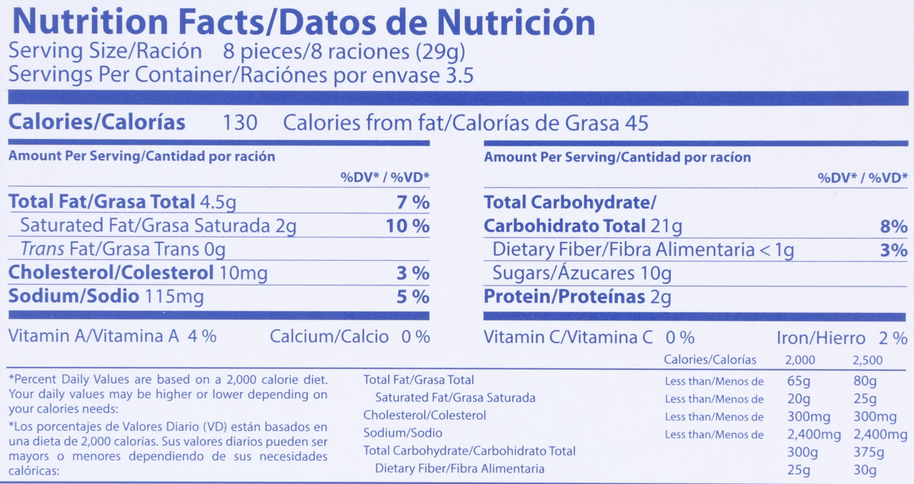 Almond Thins Nutritional Panel