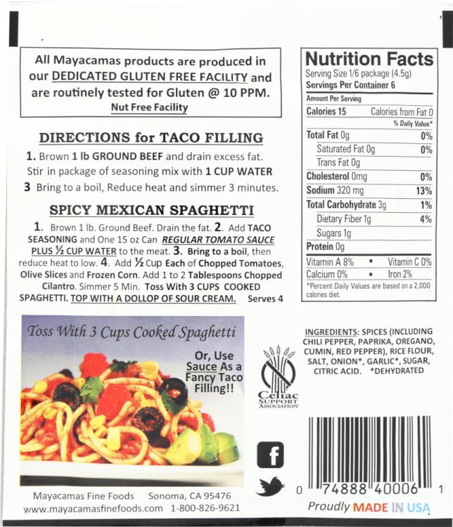 Taco Seasoning World Finer Foods