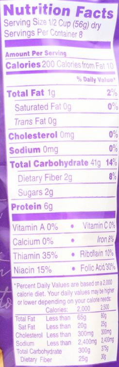 Penne Rigate nutrition label