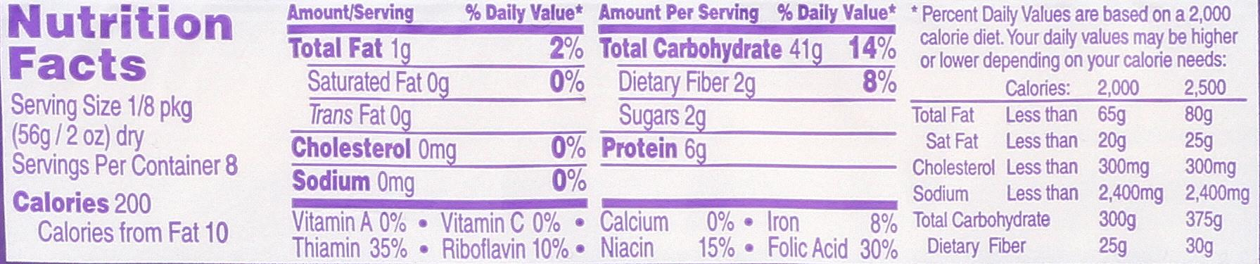 DaVinci Spaghetti nutrition label