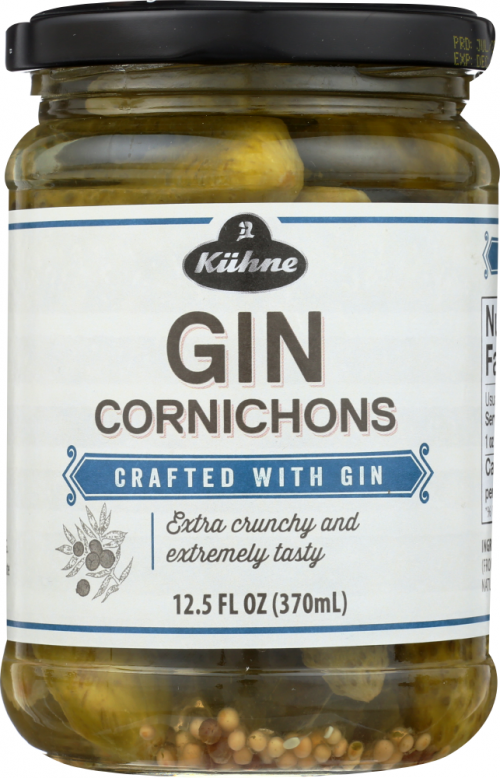 Front view of Gin Cornichons