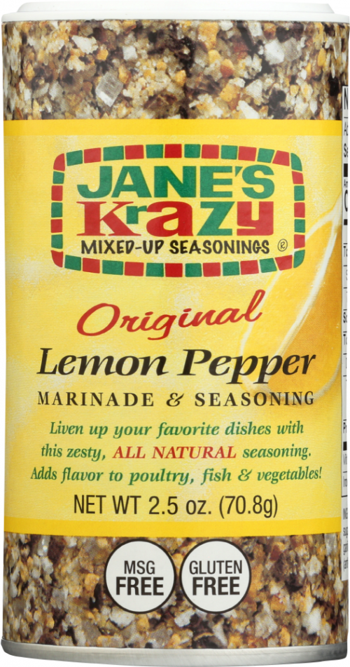 Front view of Lemon Pepper Marinade and Seasoning