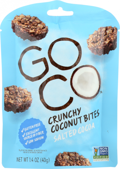 Front view of Salted Cocoa Crunchy Coconut Bites