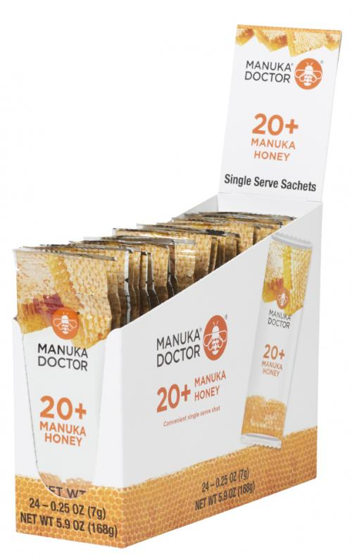 Front view of 20+ Manuka Honey Sachets